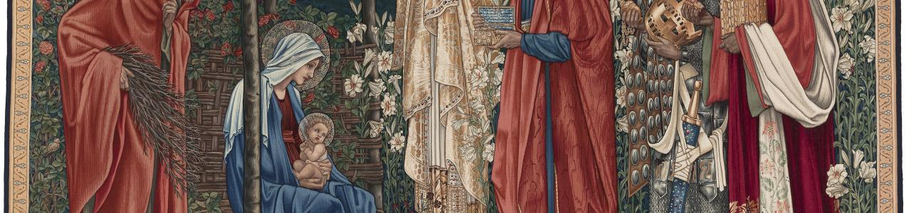 Edward Burne-Jones & William Morris: «Kongenes tilbedelse / Adoration of the Magi» (1894) Billedvev/tapestry. Eier / Courtesy of: Manchester University
