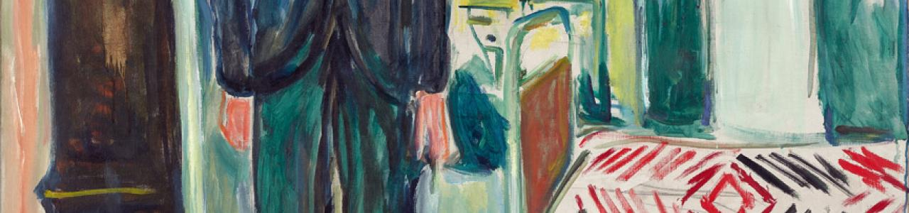 Edvard Munch, Selvportrett mellom klokken og sengen / Self-portrait. Between the Clock and the Bed, 1940-43. Munchmuseet