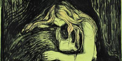 Edvard Munch, Vampyr II / Vampire II, 1895, Håndkolorert litografi / Hand coloured lithograp. The Gundersen Collection, Oslo.